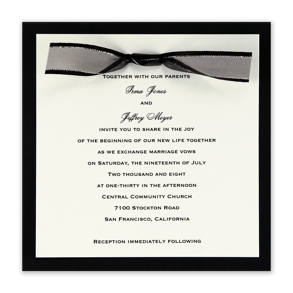 Wedding Invitation Wording Black Tie Yaseen for